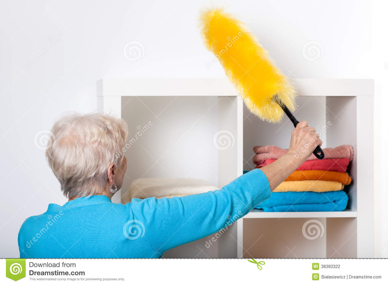 Elderly Lady During Dusting Furniture Stock Photography - Image ...