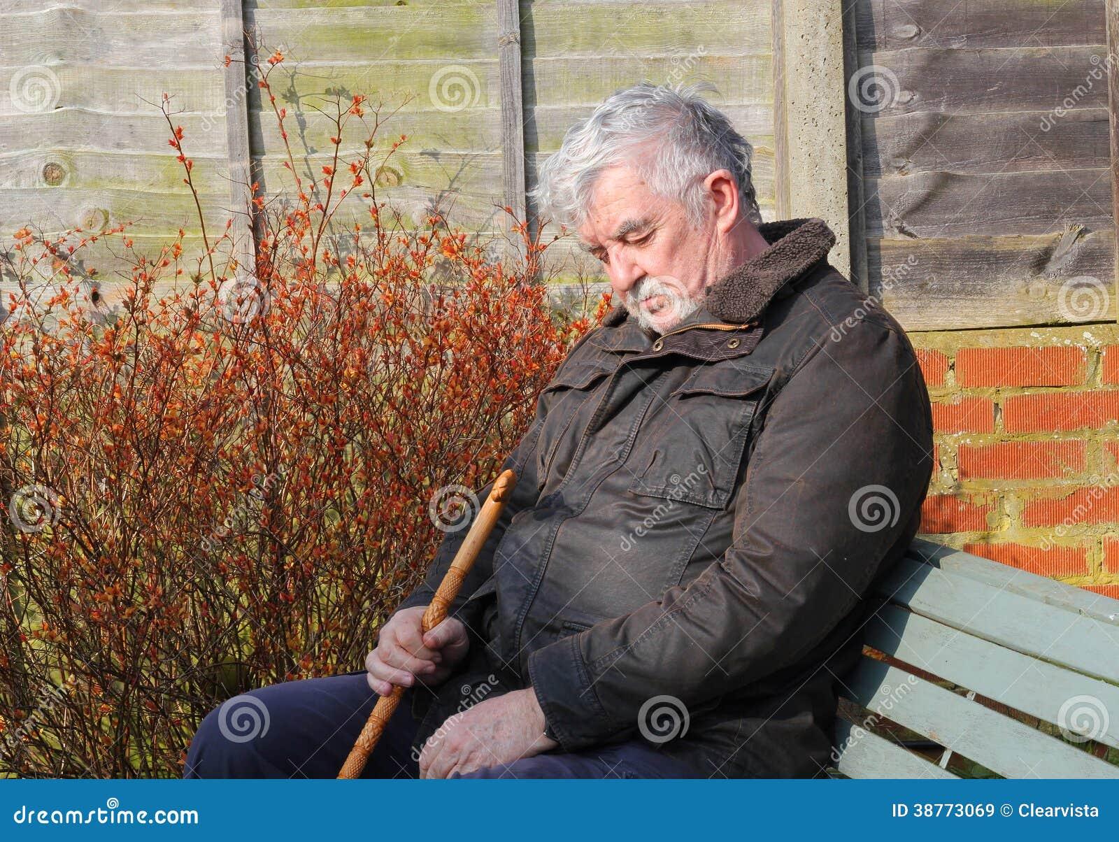Elderly Man Asleep In The Sunshine Stock Image Image Of