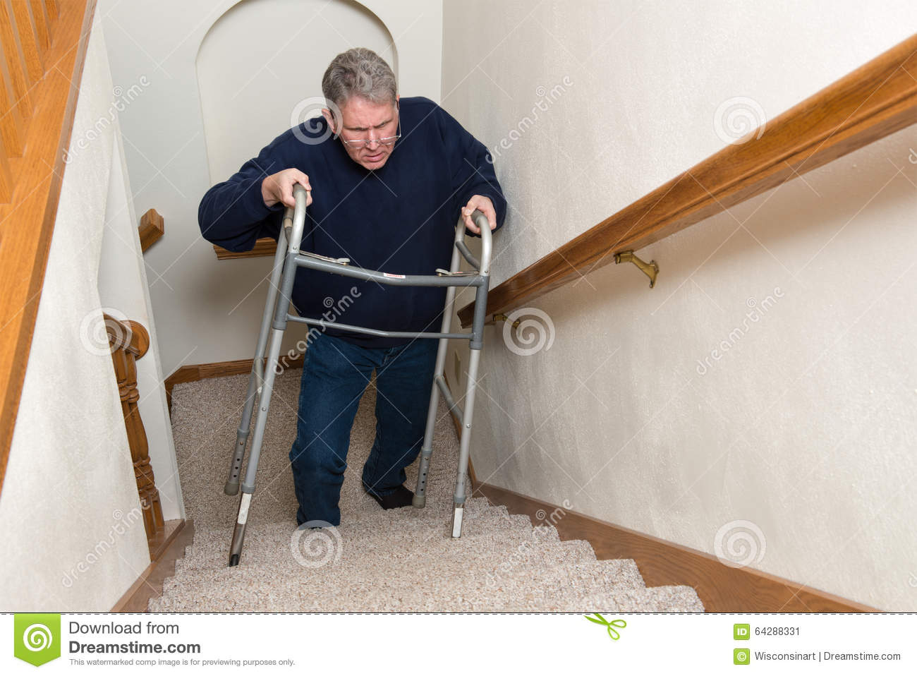 Elderly Man Climb Stairs, Walker