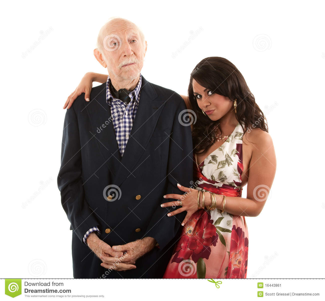 elderly man with gold digger companion or wife stock image