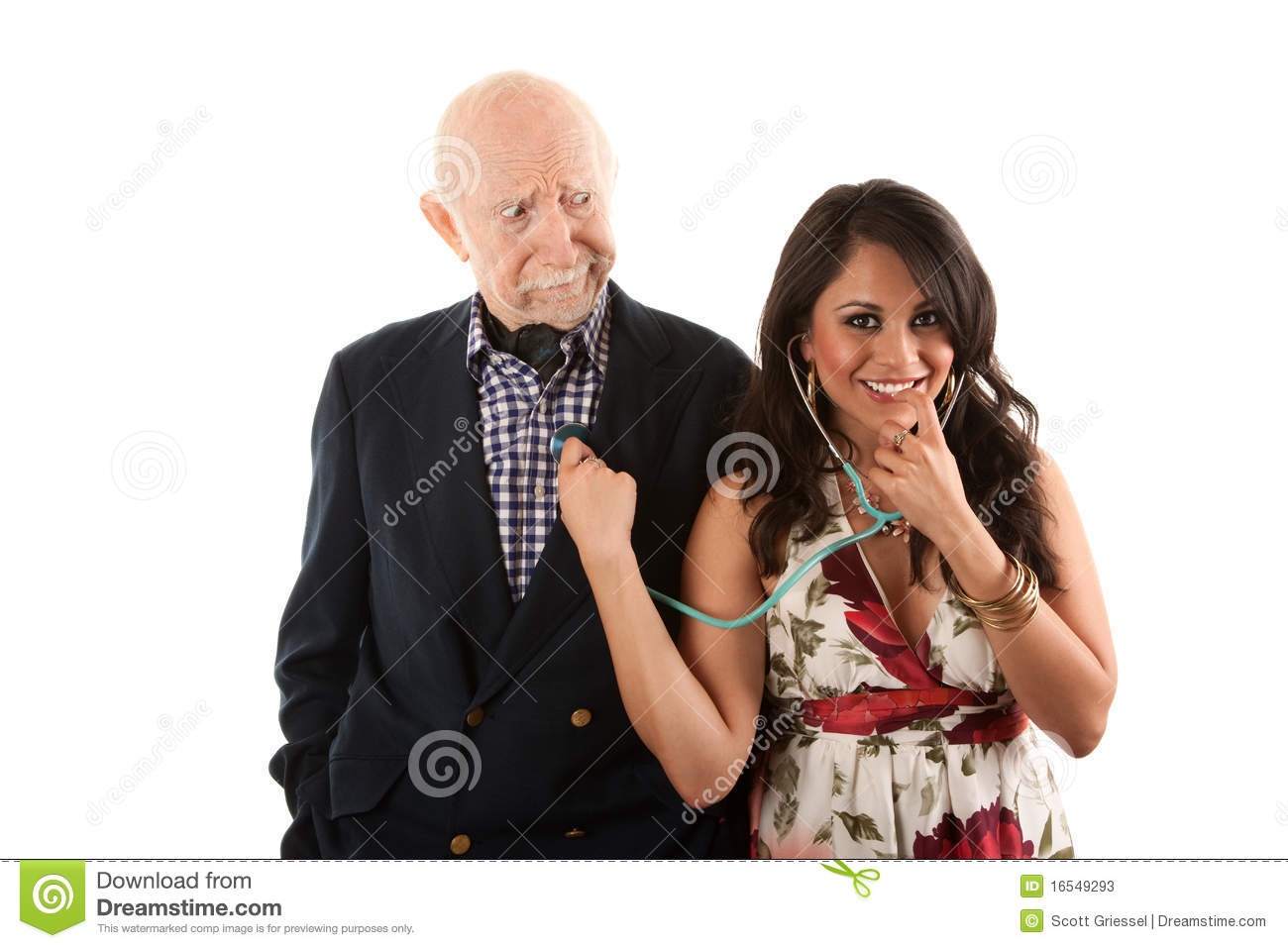 Elderly man with gold-digger companion or wife