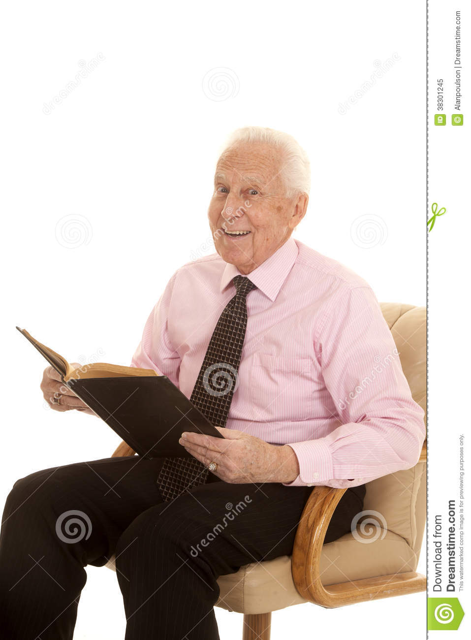 Elderly Man Pink Shirt Book Happy Royalty Free Stock Photo - Image ...