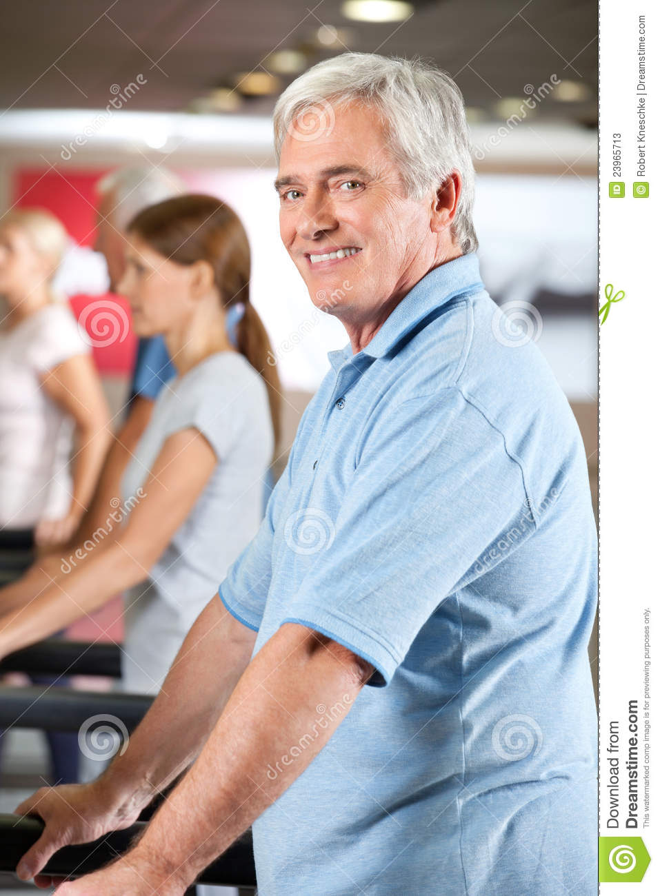 Elderly man on treadmill in gym stock image image of content