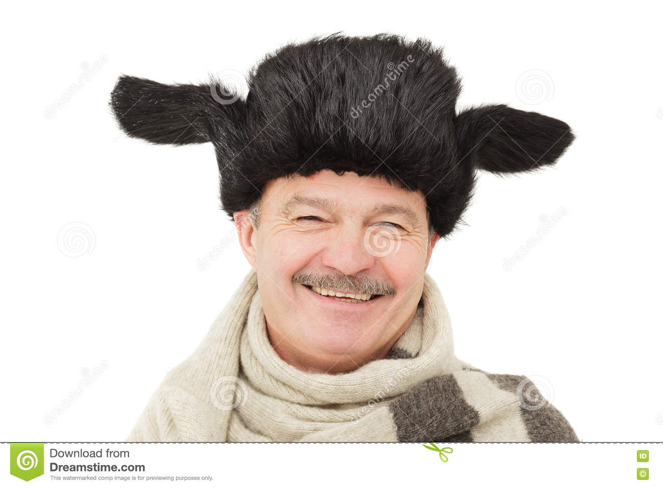 12b5f574cfda0 Elderly Man In Warm Fur Hat With Earflaps. Stock Image - Image of ...