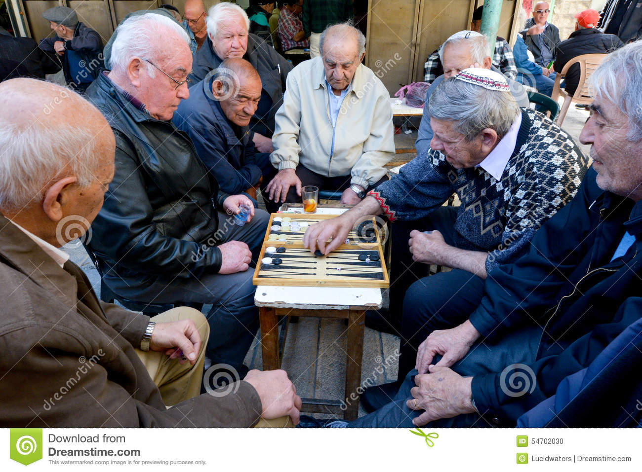 Elderly Men Play Backgammon In Jerusalem Israel Editorial