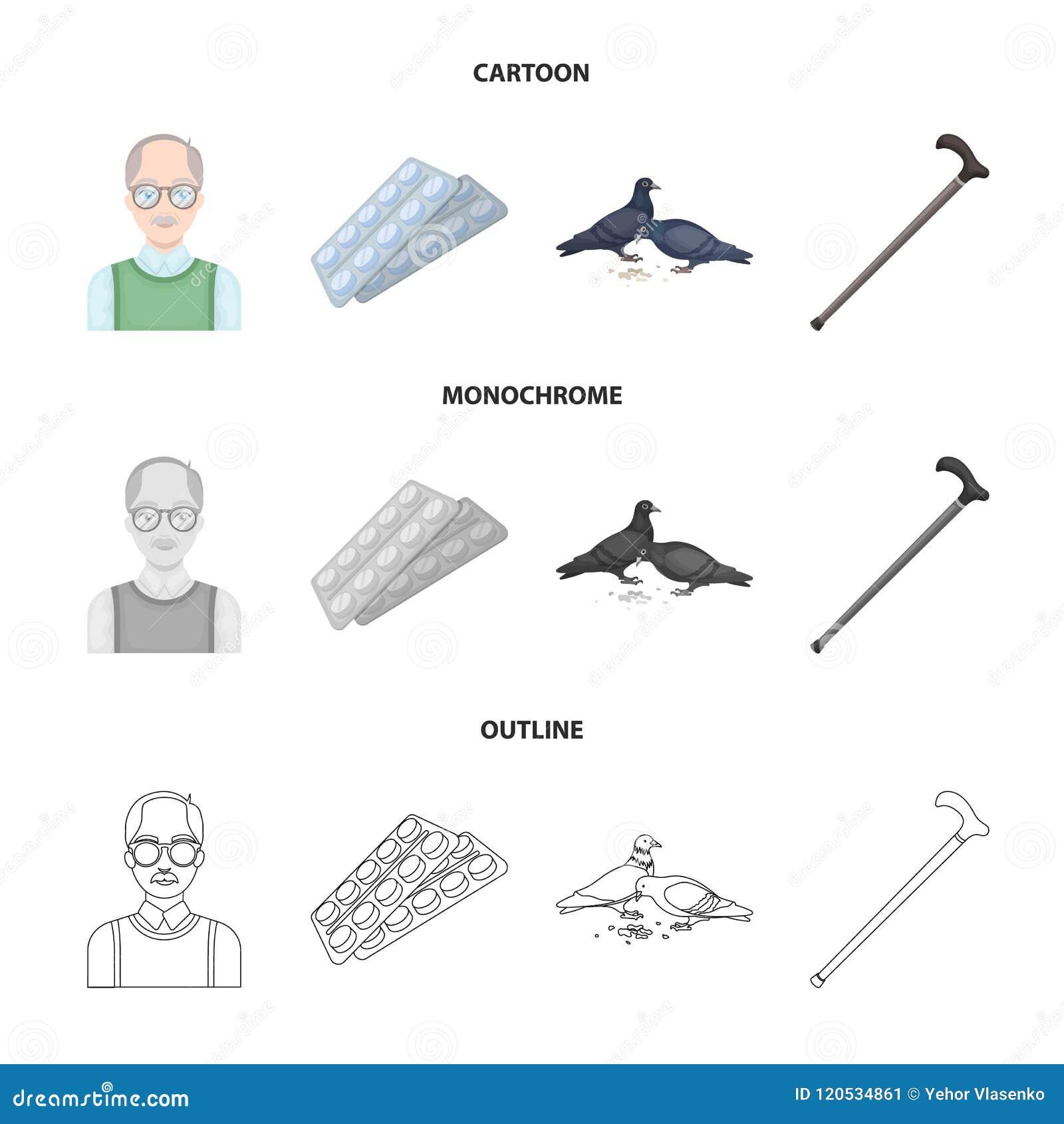 elderly men tablets pigeons walking cane old age set collection
