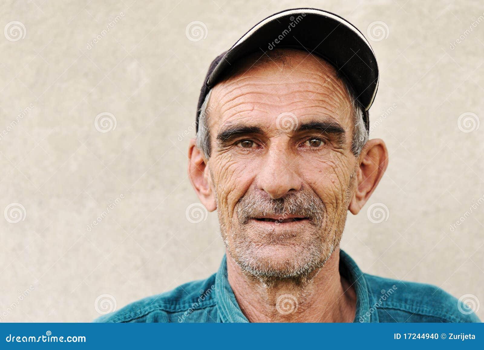 Elderly, old, mature man with hat