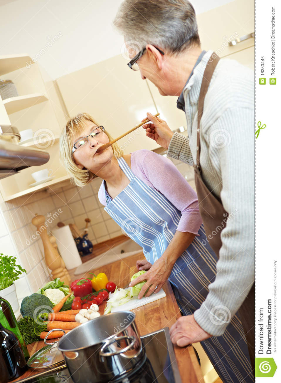 Elderly People Cooking Royalty Free Stock Image Image