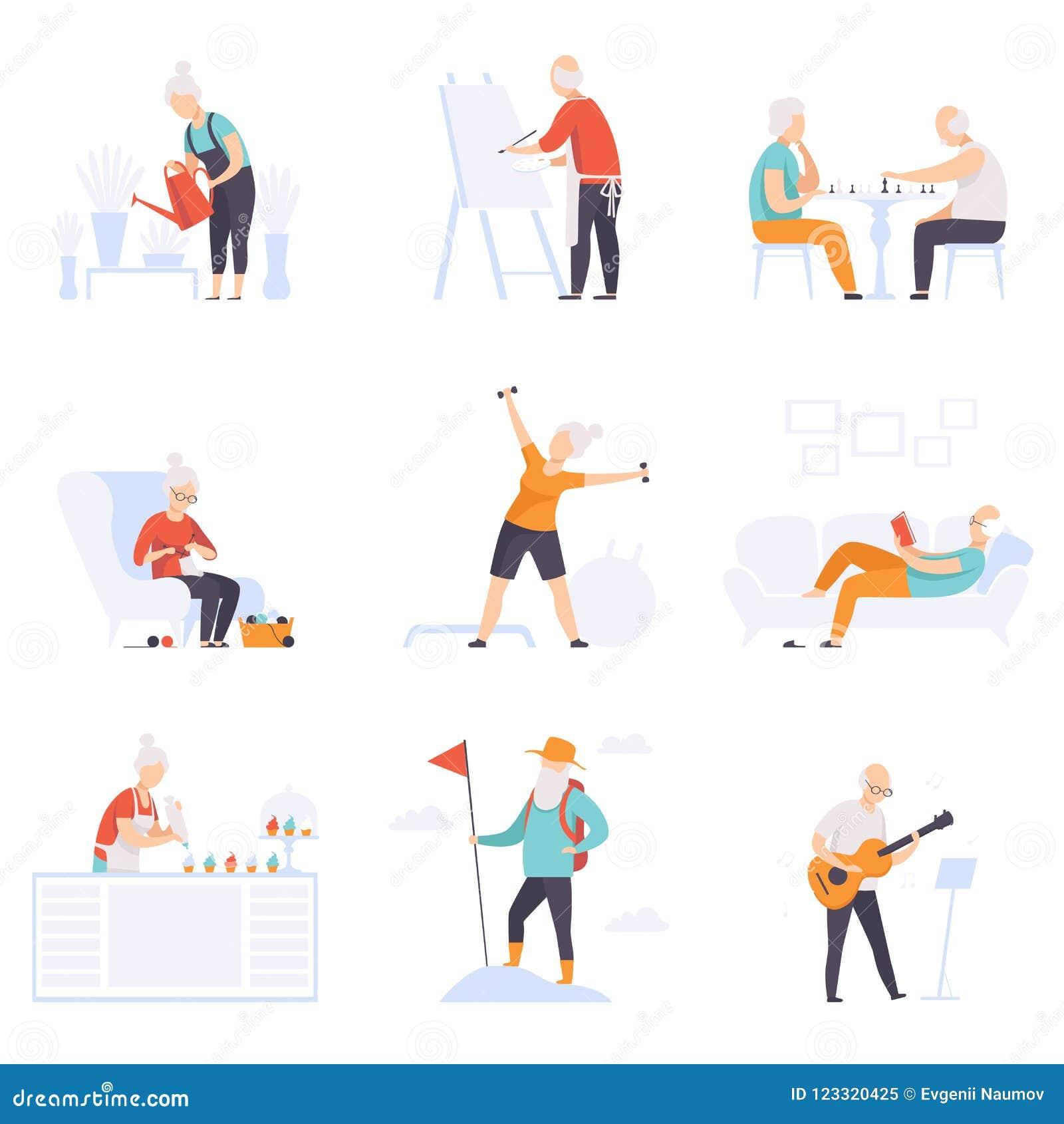 Elderly People Enjoying Various Hobbies Senior Men And Women