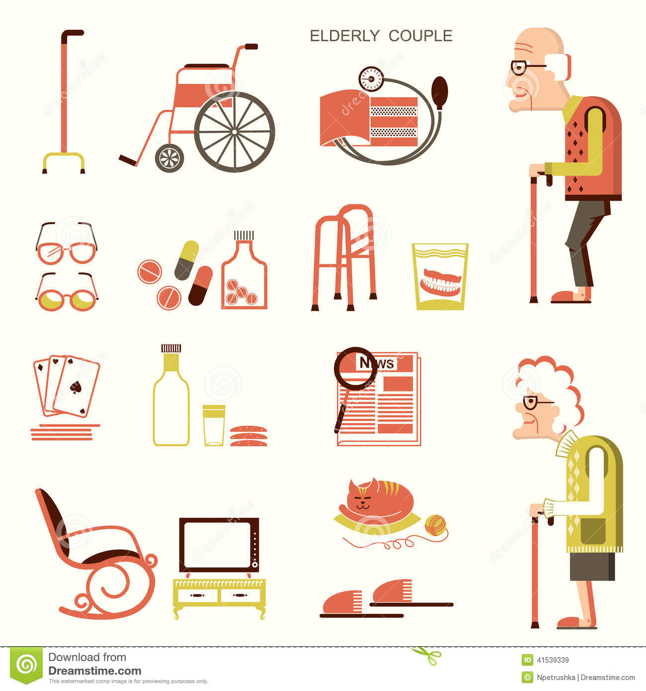 Download Elderly People And Objects For Life Stock Vector - Illustration of design, people: 41539339