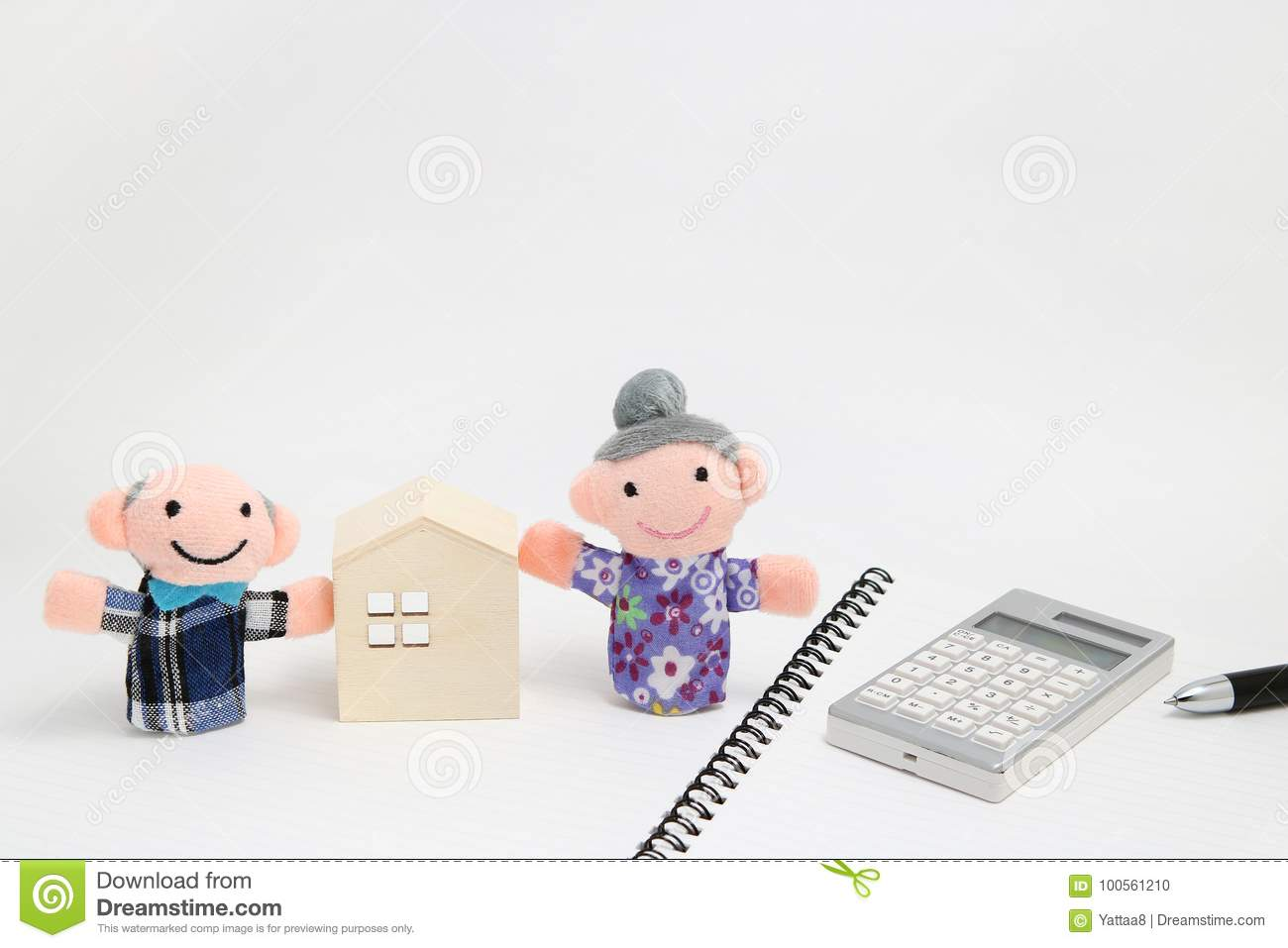 elderly people with wheelchair and calculator on white background