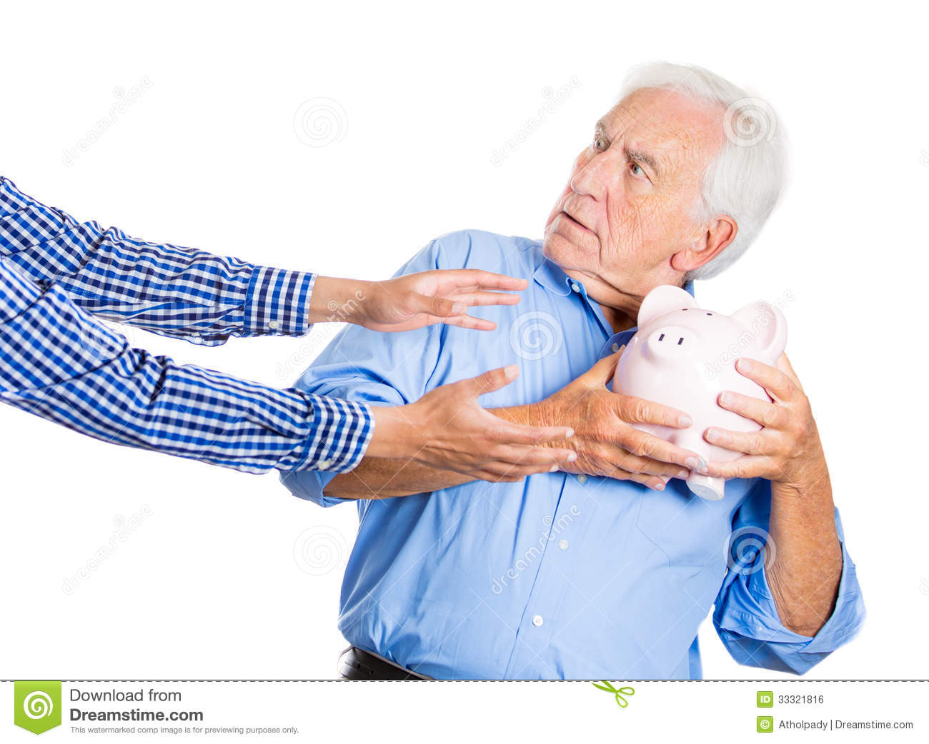 Elderly, Senior Man, Grandfather, Holding A Piggy Bank, Looking Scared ...