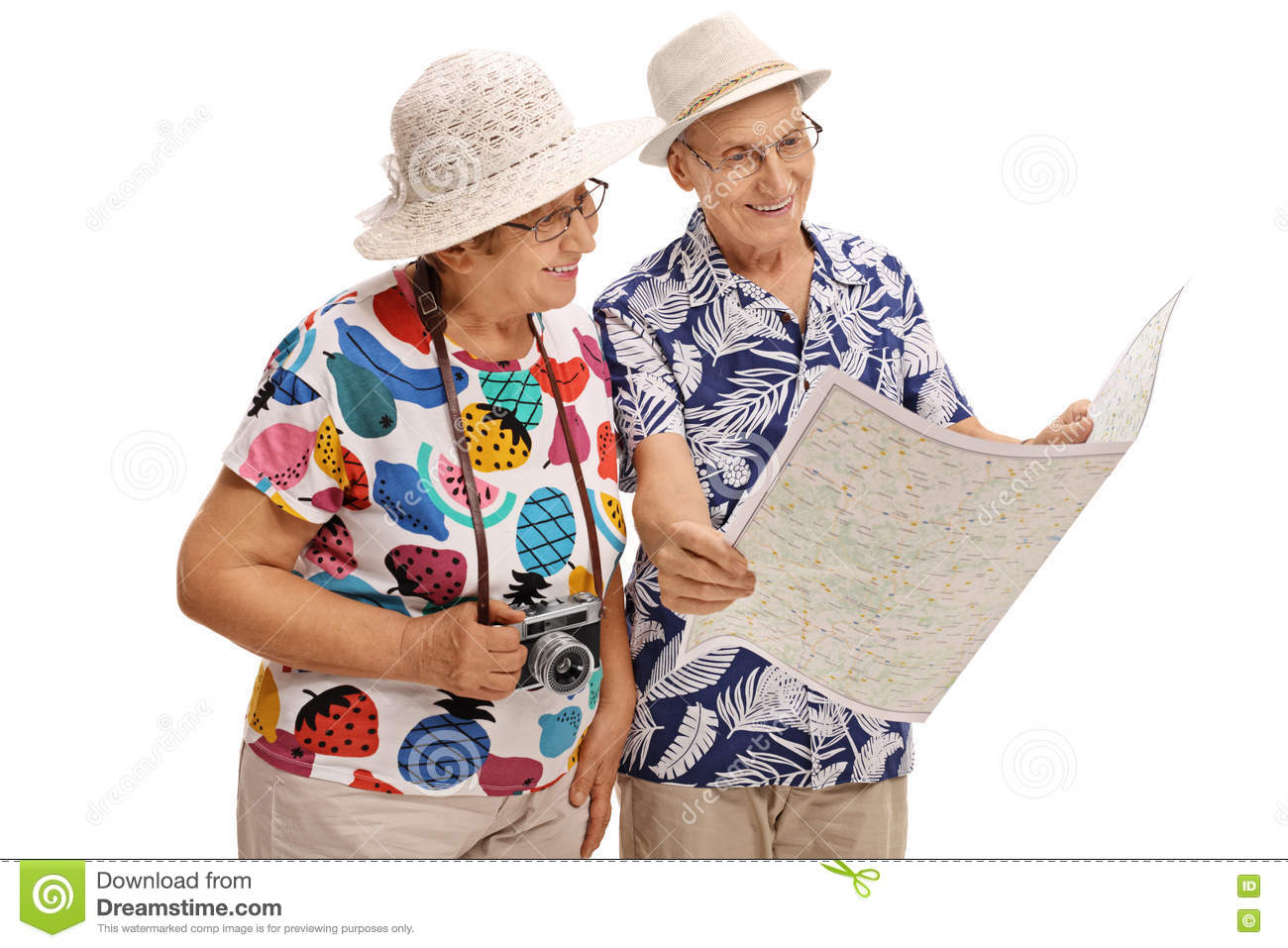 1200b3d58c8e9 Elderly tourists looking at a generic map isolated on white background