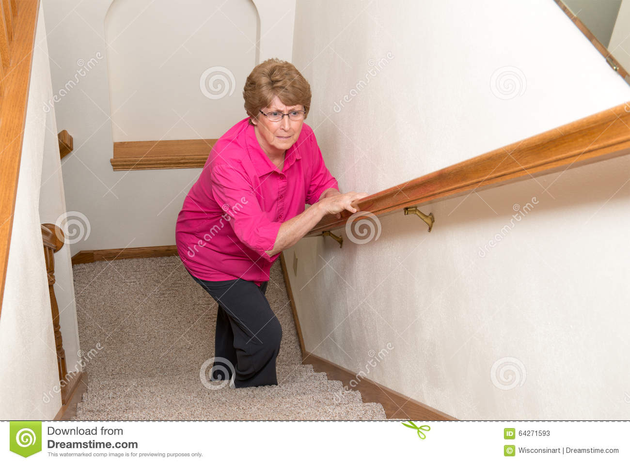 Elderly Woman Climb Stairs Mobility Issues