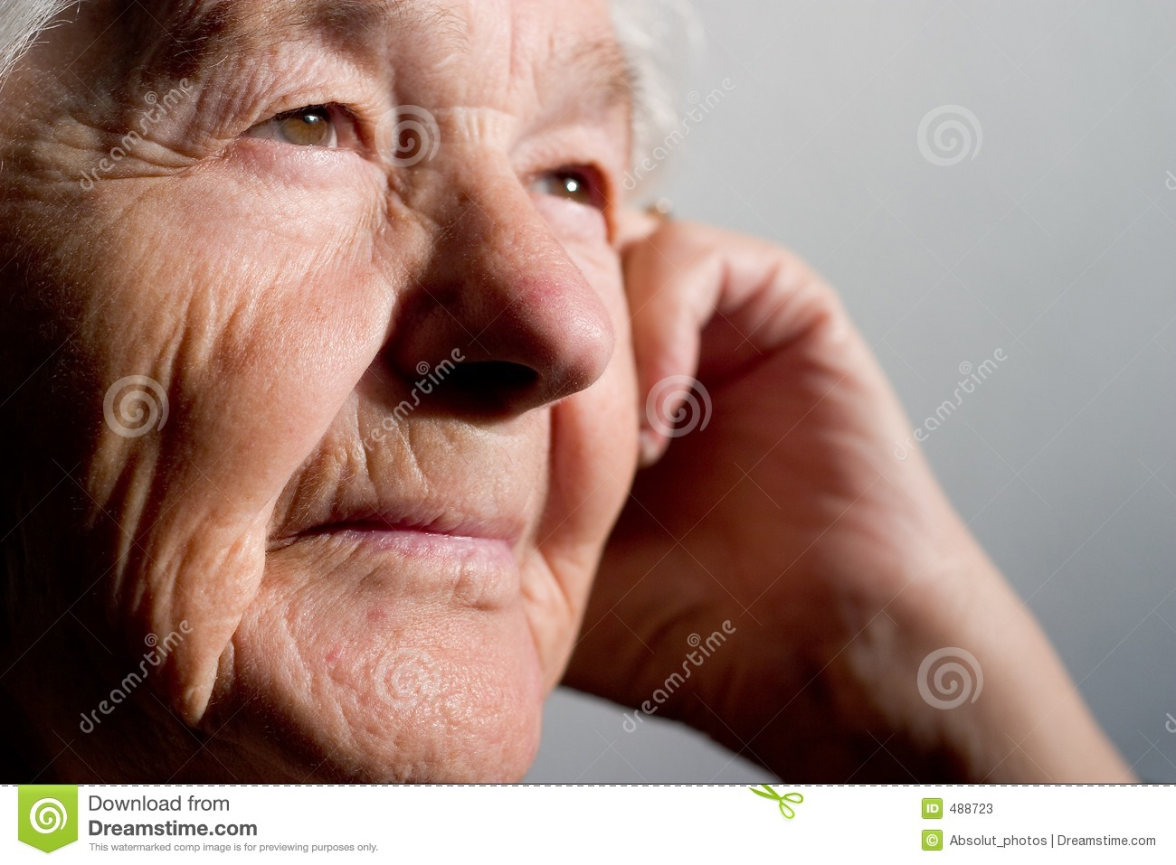 Stock illustrations senior citizen lady with a sign stock clipart - Elderly Woman Contemplating Stock Photos Image 488723
