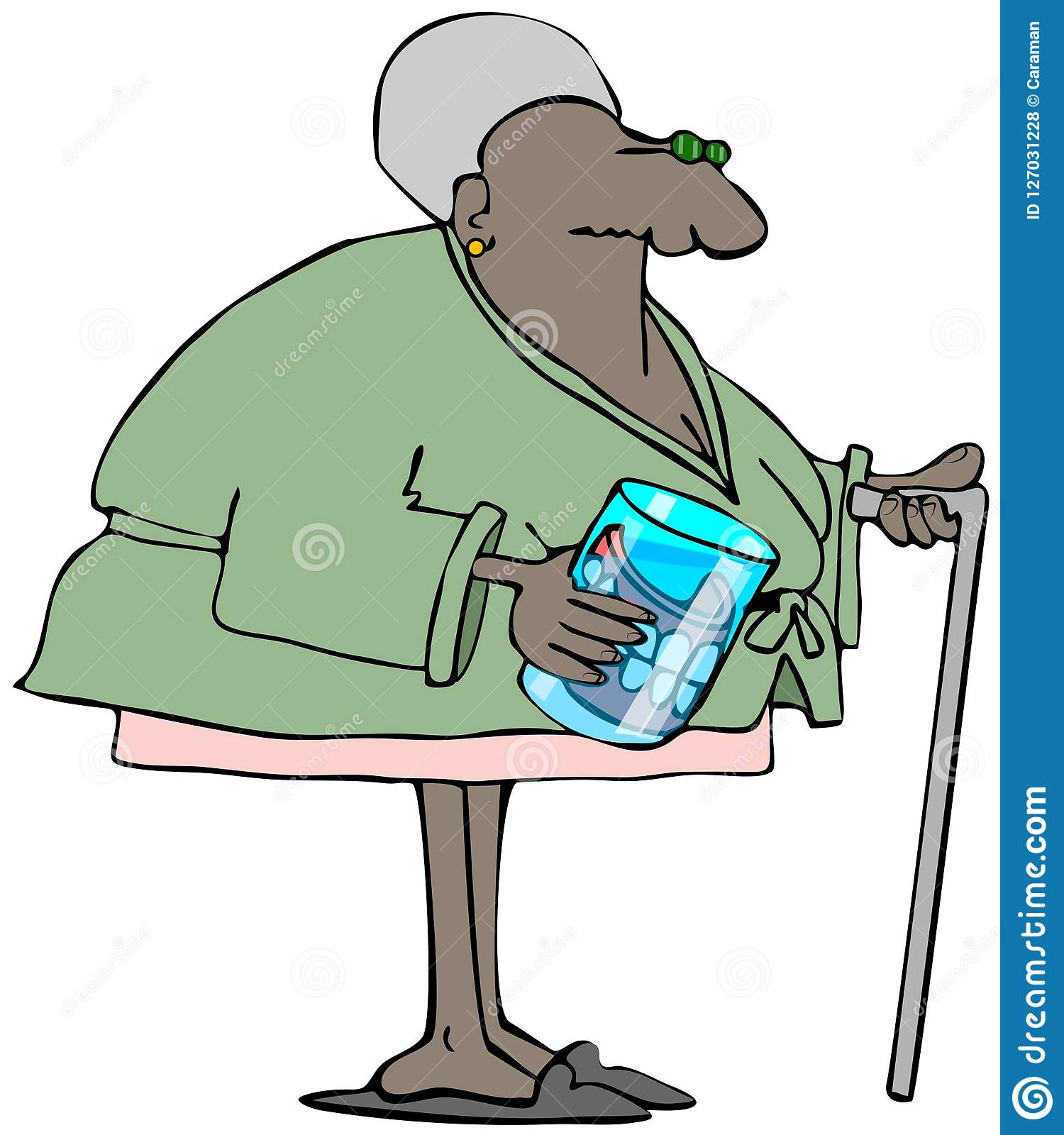 Elderly Woman With Dentures In A Glass Stock Illustration