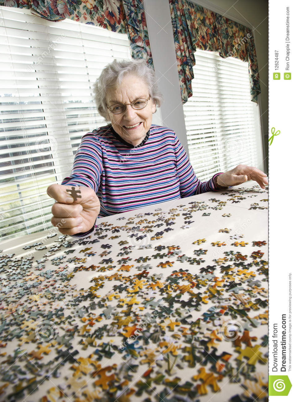 Elderly Woman Doing Jig Saw Puzzle Stock Image Image