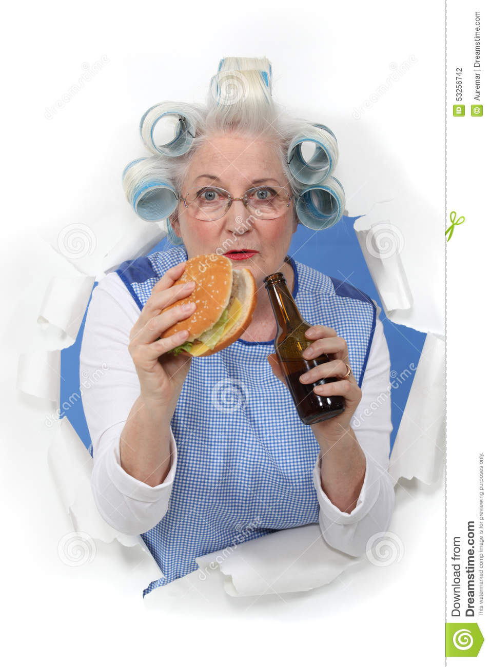 Elderly Woman With Hair Rollers Stock Photo Image 53256742