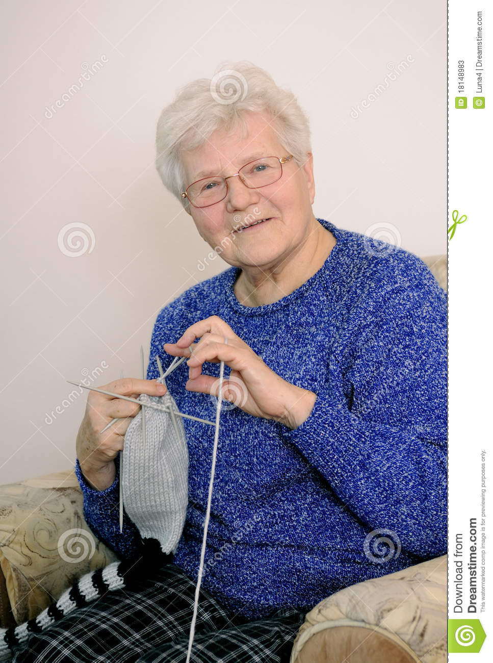 Old Lady Knitting Images : Elderly woman knitting stock image of sitting