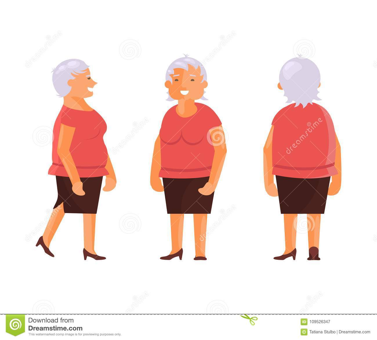 Grandma In Various Postures And Expressing Emotions Vector