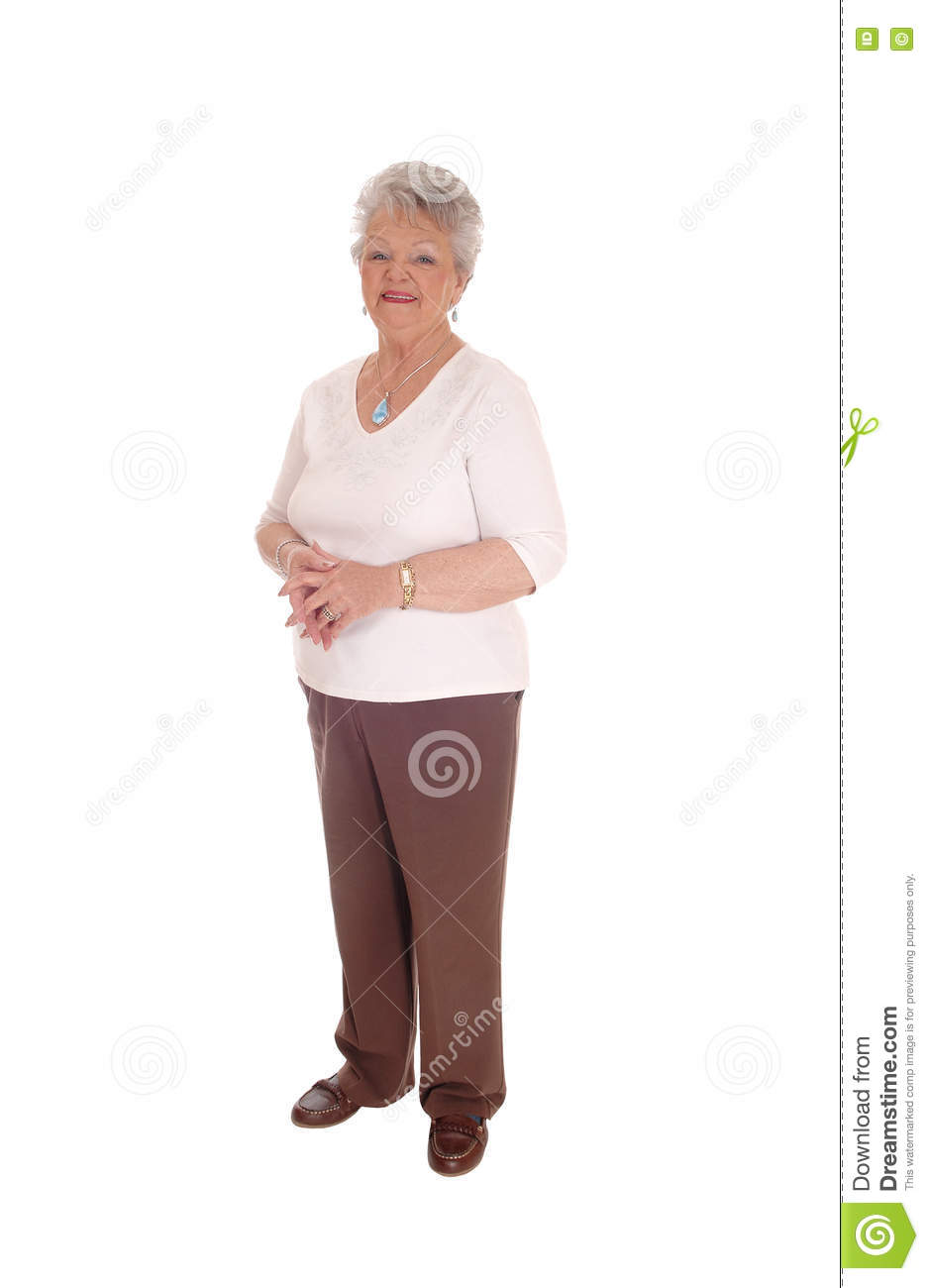 Elderly Woman Standing For White Background Stock Photo