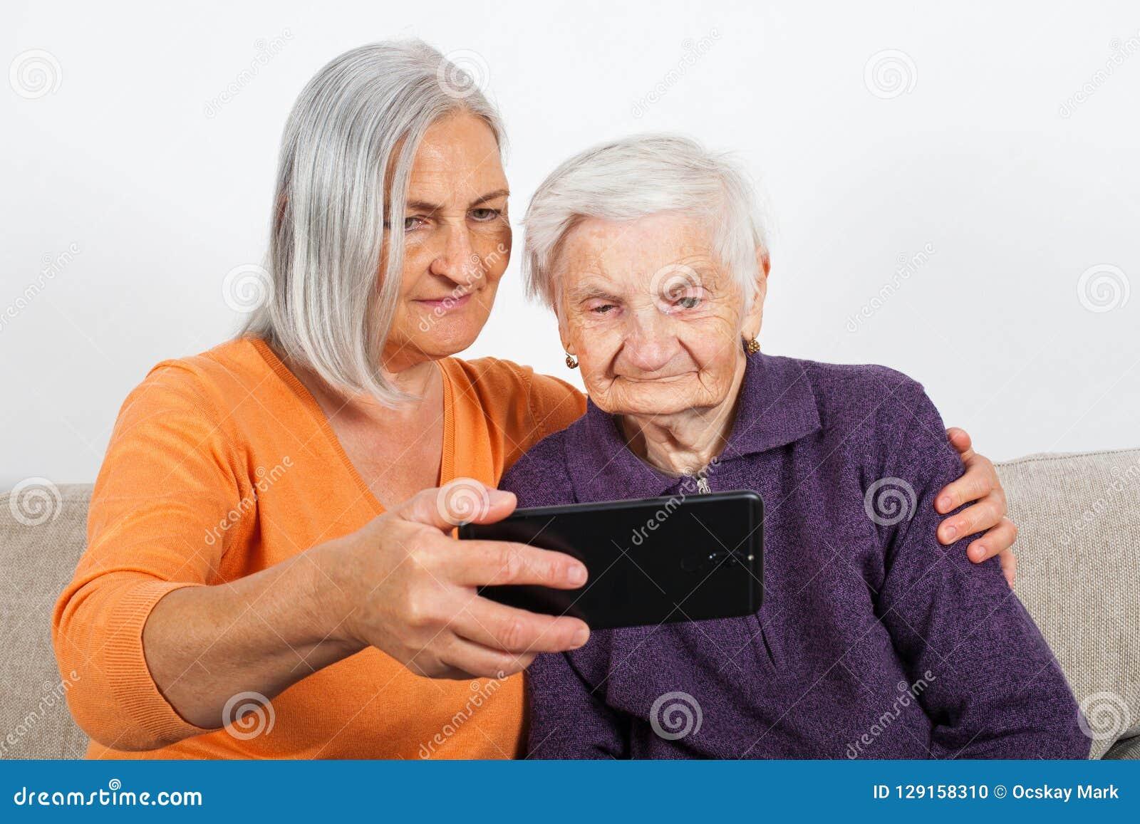 Elderly women`s selfie