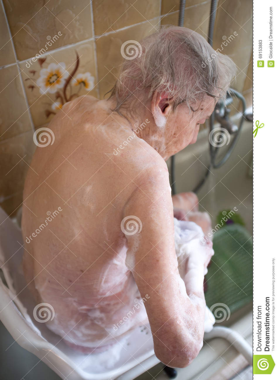 Elderly Woman Taking A Shower Stock Image - Image of infirmity ...