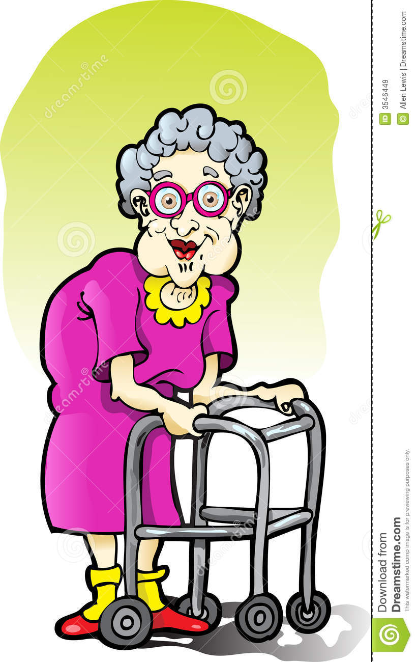 Elderly Woman With A Walker Stock Vector - Illustration of ...