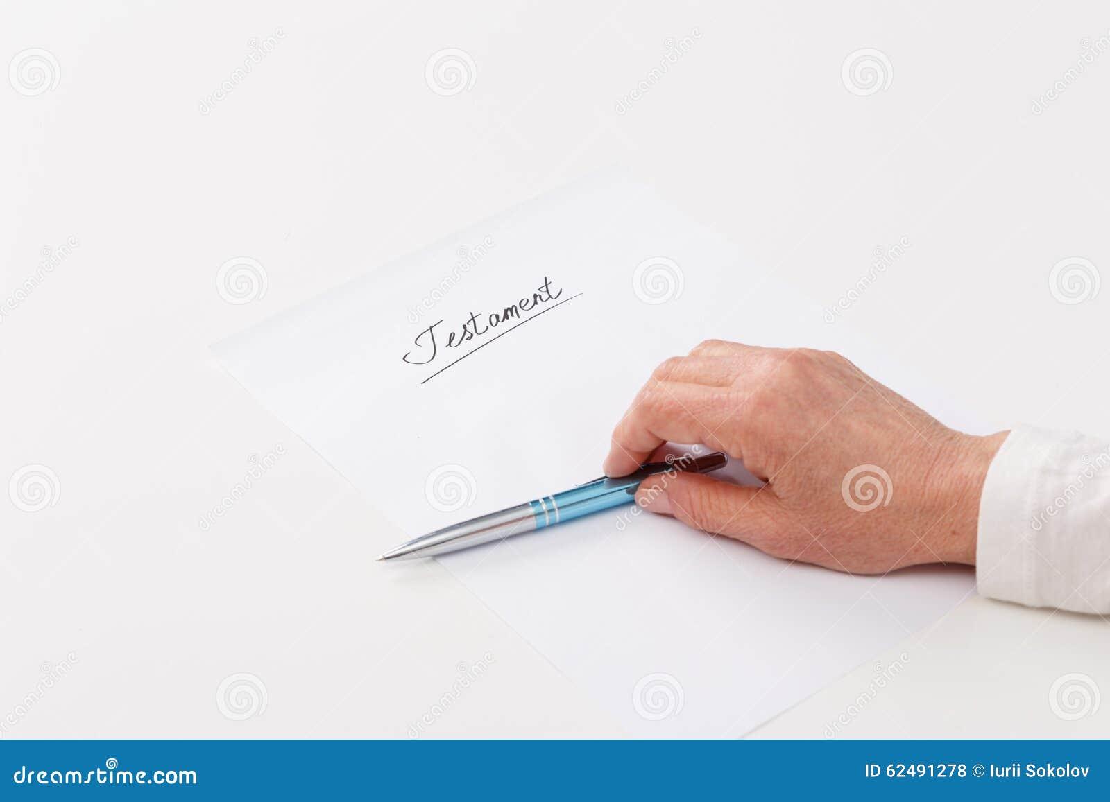 Elderly Woman Writing Testament Stock Photo Image Of Legacy