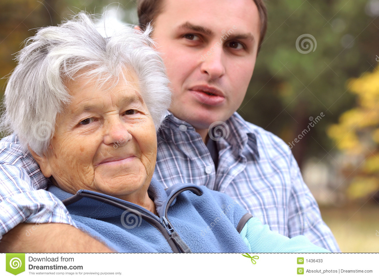 Elderly woman and young man