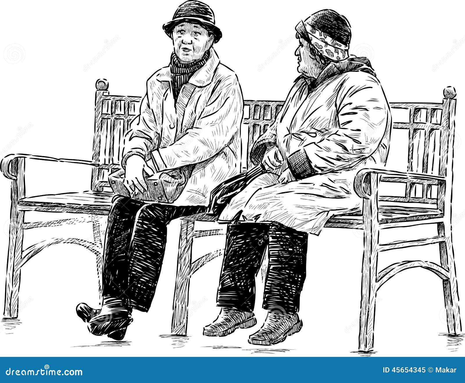 Elderly Women On The Park Bench Stock Vector Image 45654345