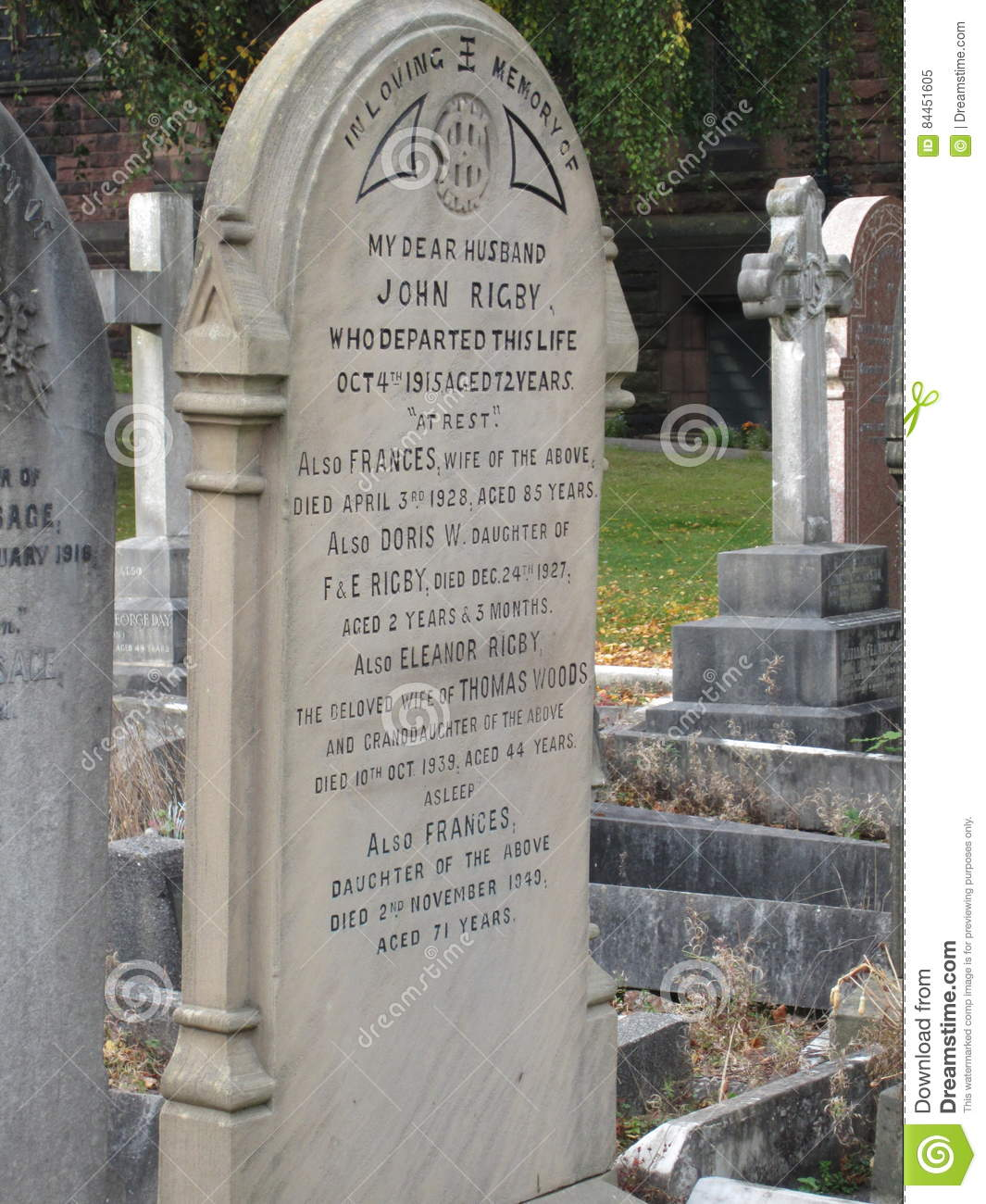 Eleanor Rigby Grave Liverpool England Editorial Image Image Of Liverpool Paul 84451605