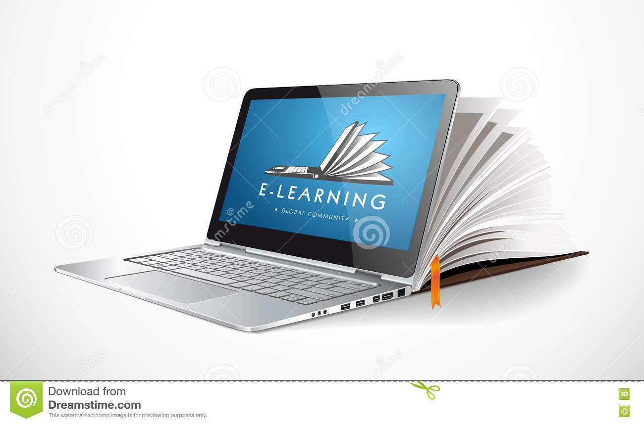 Elearning concept - online learning system - knowledge growth