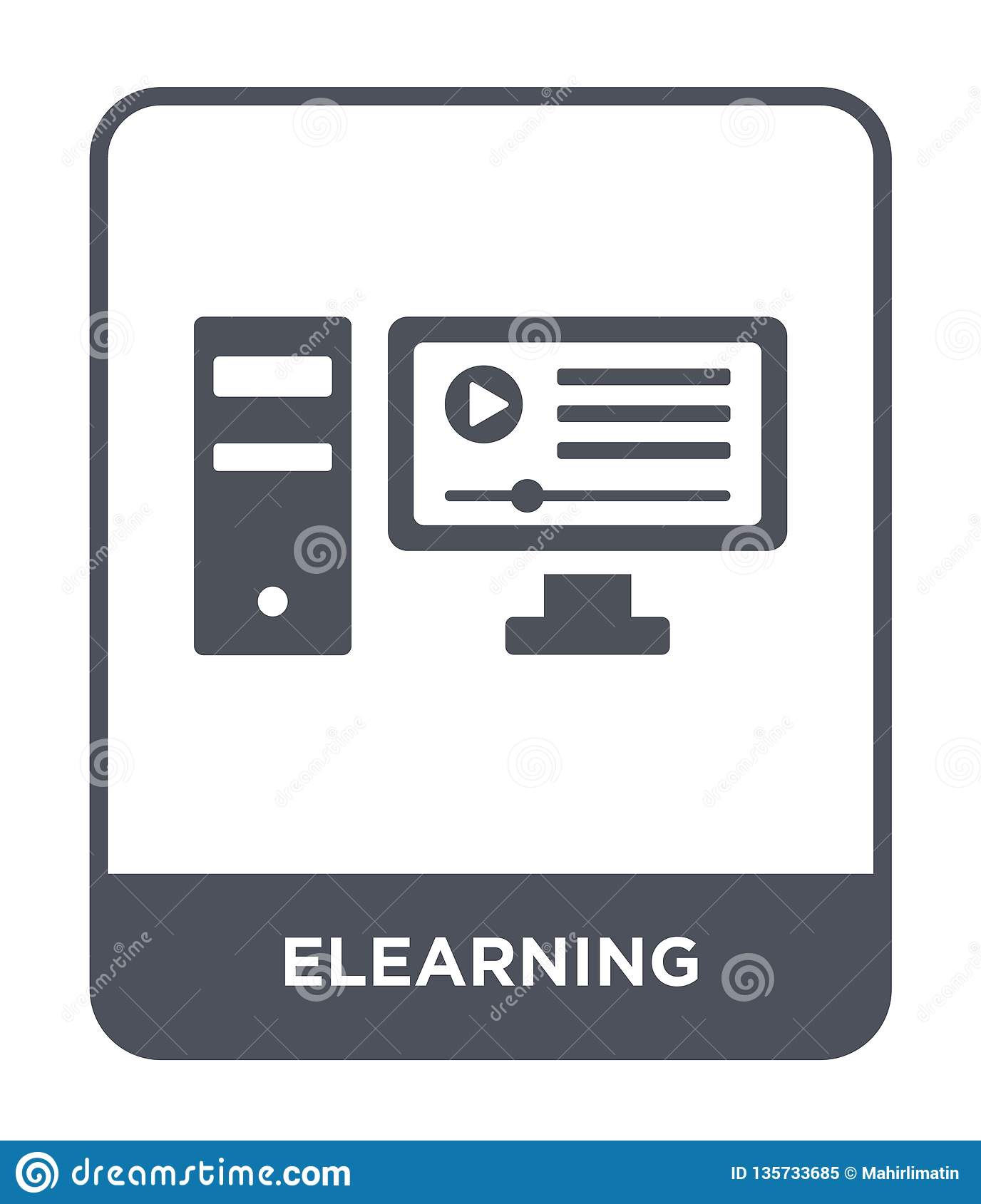 elearning icon in trendy design style. elearning icon isolated on white background. elearning vector icon simple and modern flat