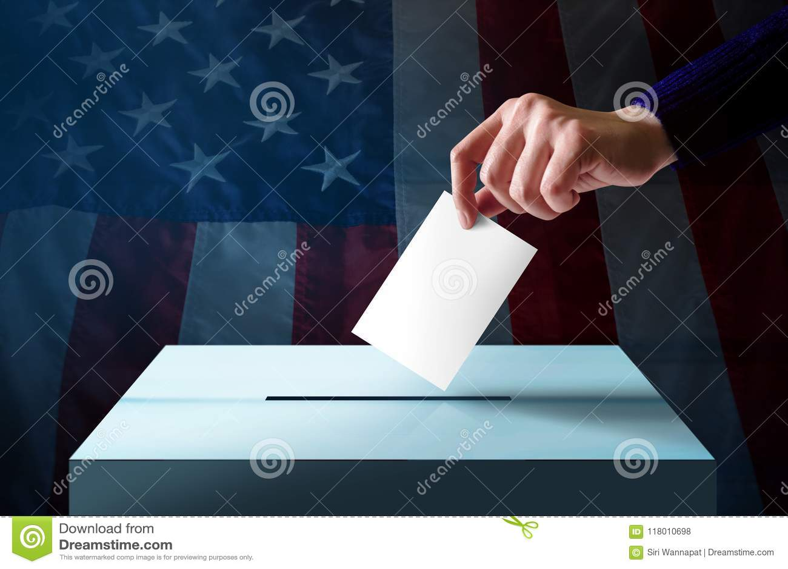 Elección en el concepto de América Dé la caída de una tarjeta de la votación en el th
