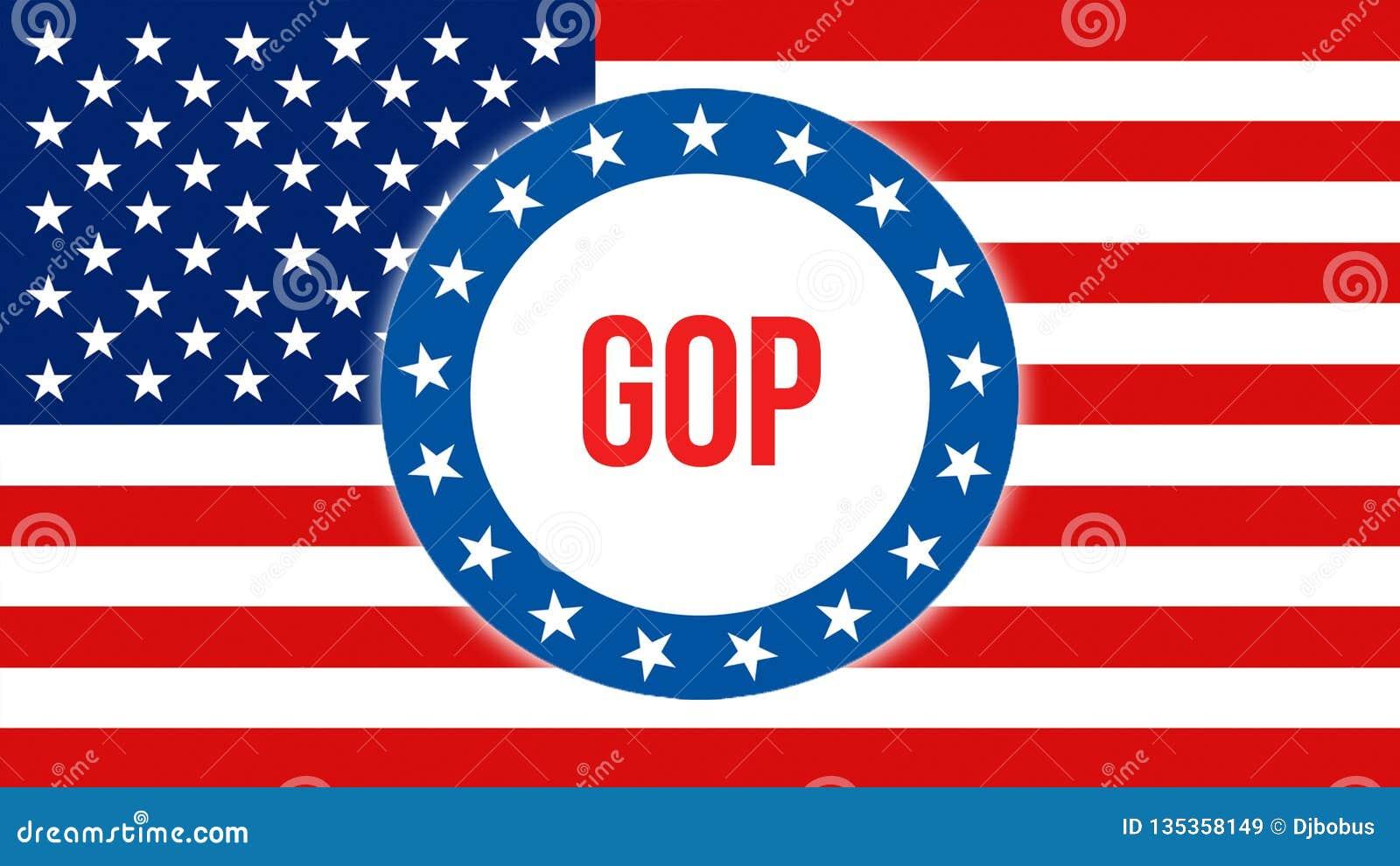 Elección en un fondo de los E.E.U.U., del Gop representación 3D Bandera de los Estados Unidos de América que agita en el viento V