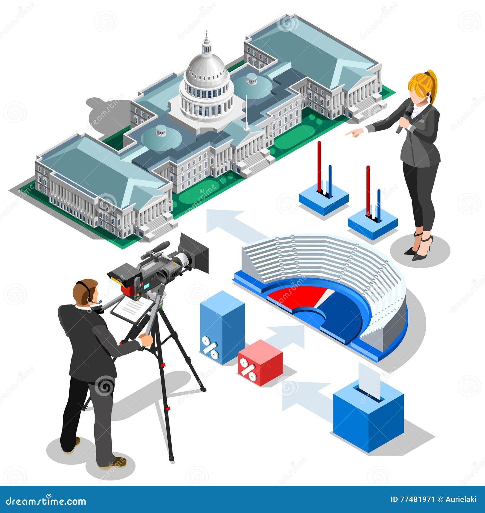 Elección Infographic nosotros edificio isométrico del vector del capitolio