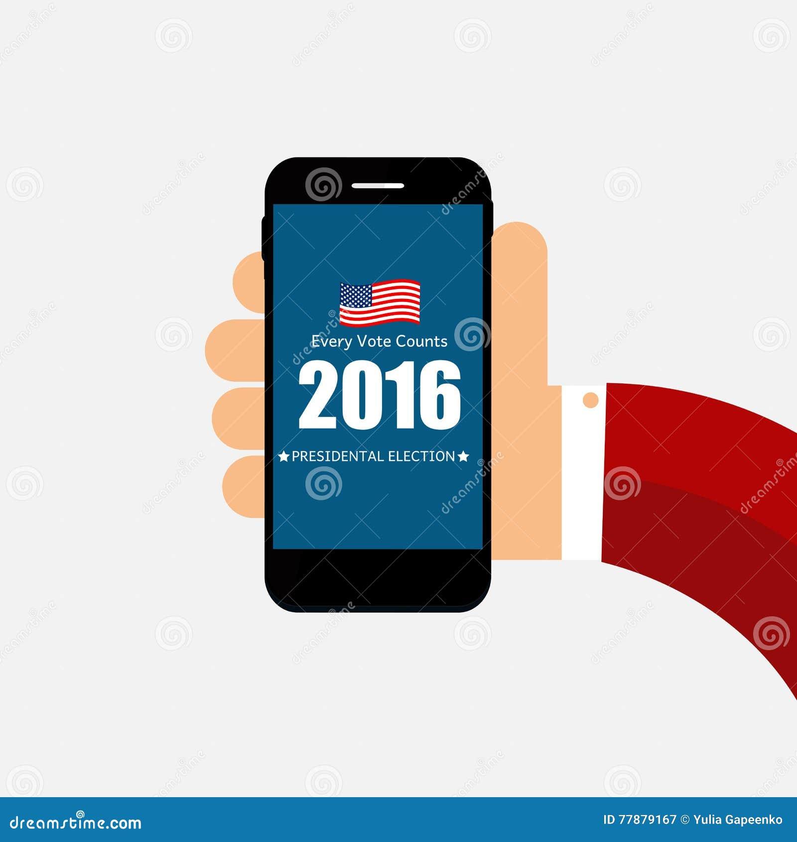 Elección Presidencial 2016 En Fondo De Los E.E.U.U. Puede Ser Utilizado Como Prohibición Ilustración del Vector