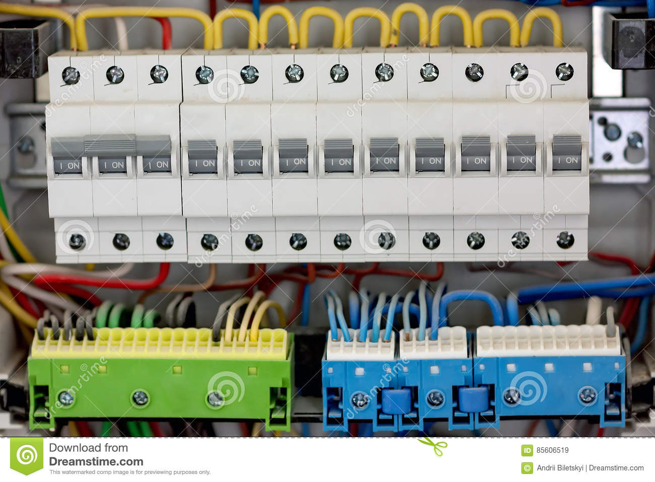 electical distribution fuseboard  electrical supplies  electrical panel at  a assembly line factory  controls and switches
