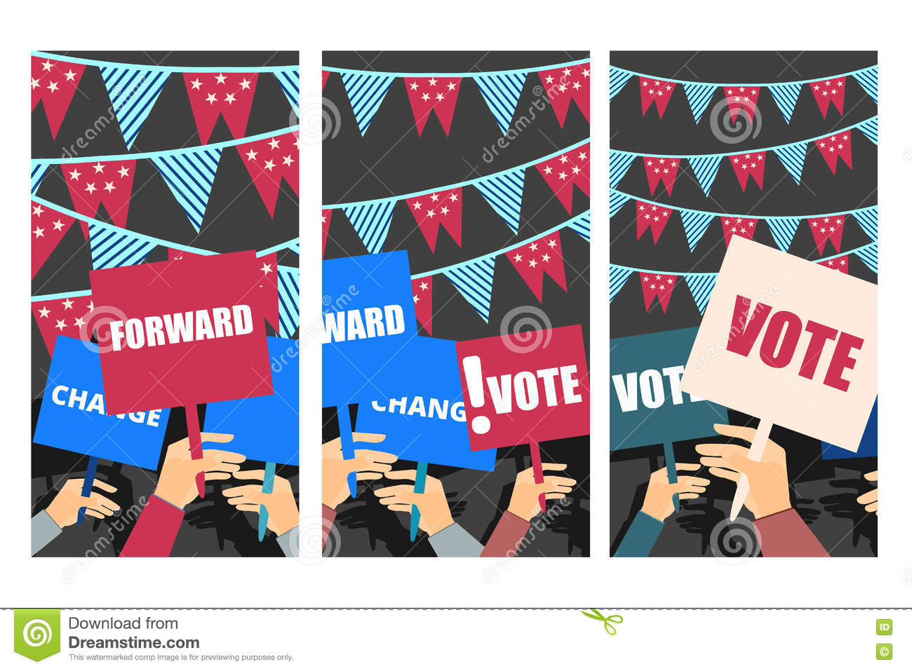 Poster With Voters Hands For American Elections, Vector ...
