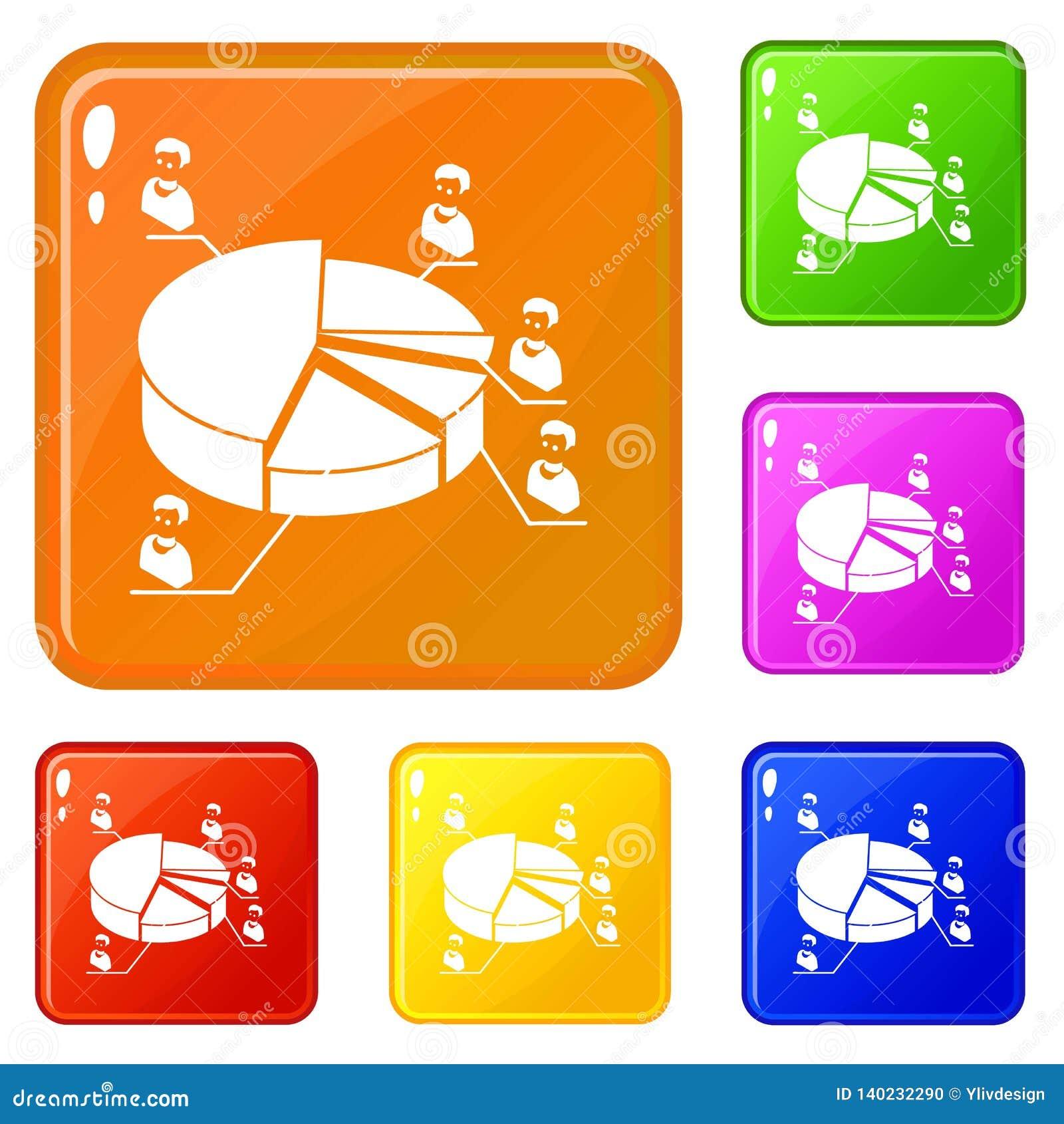Election Diagram Icons Set Vector Color Stock Vector