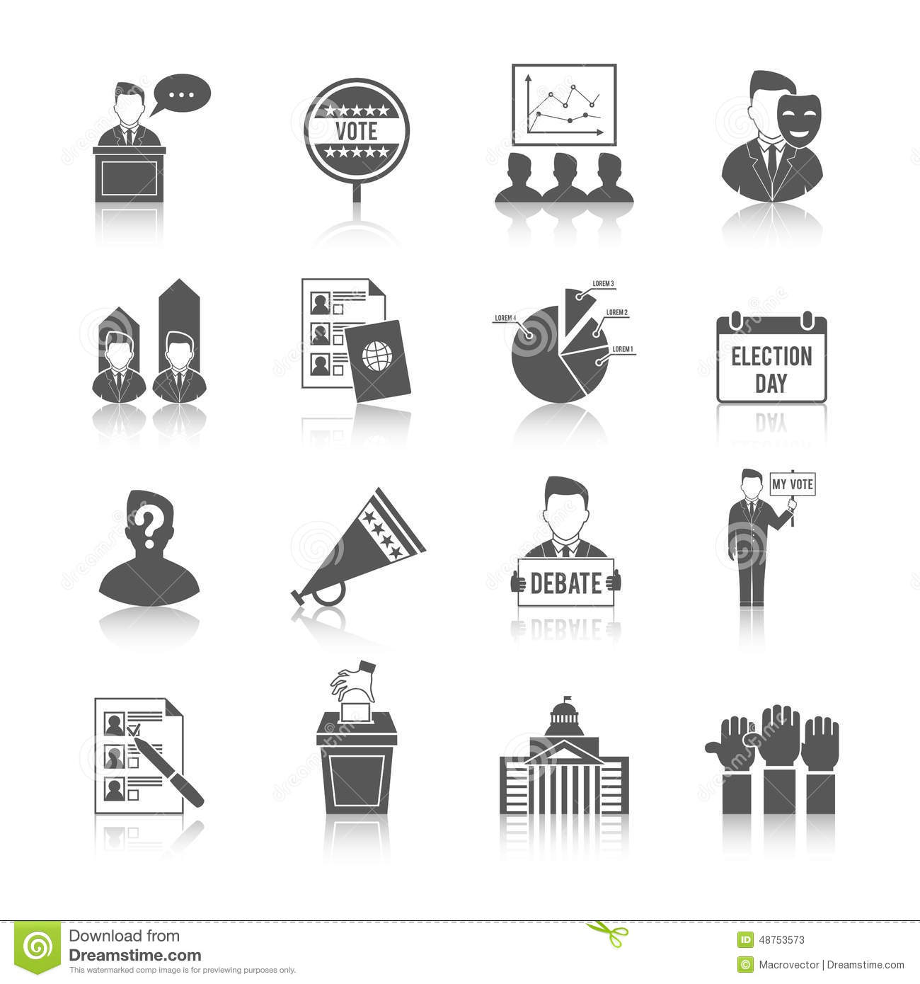 Election icon set stock vector illustration of politics 48753573 election icon set geenschuldenfo Gallery