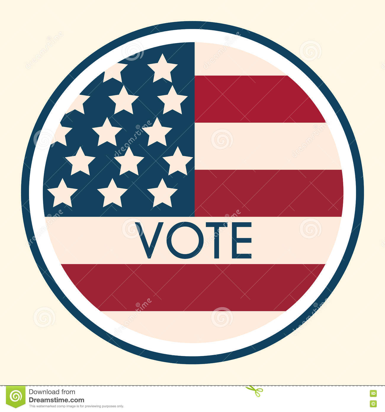 Election voting sticker and badge american flag s symbolic elem