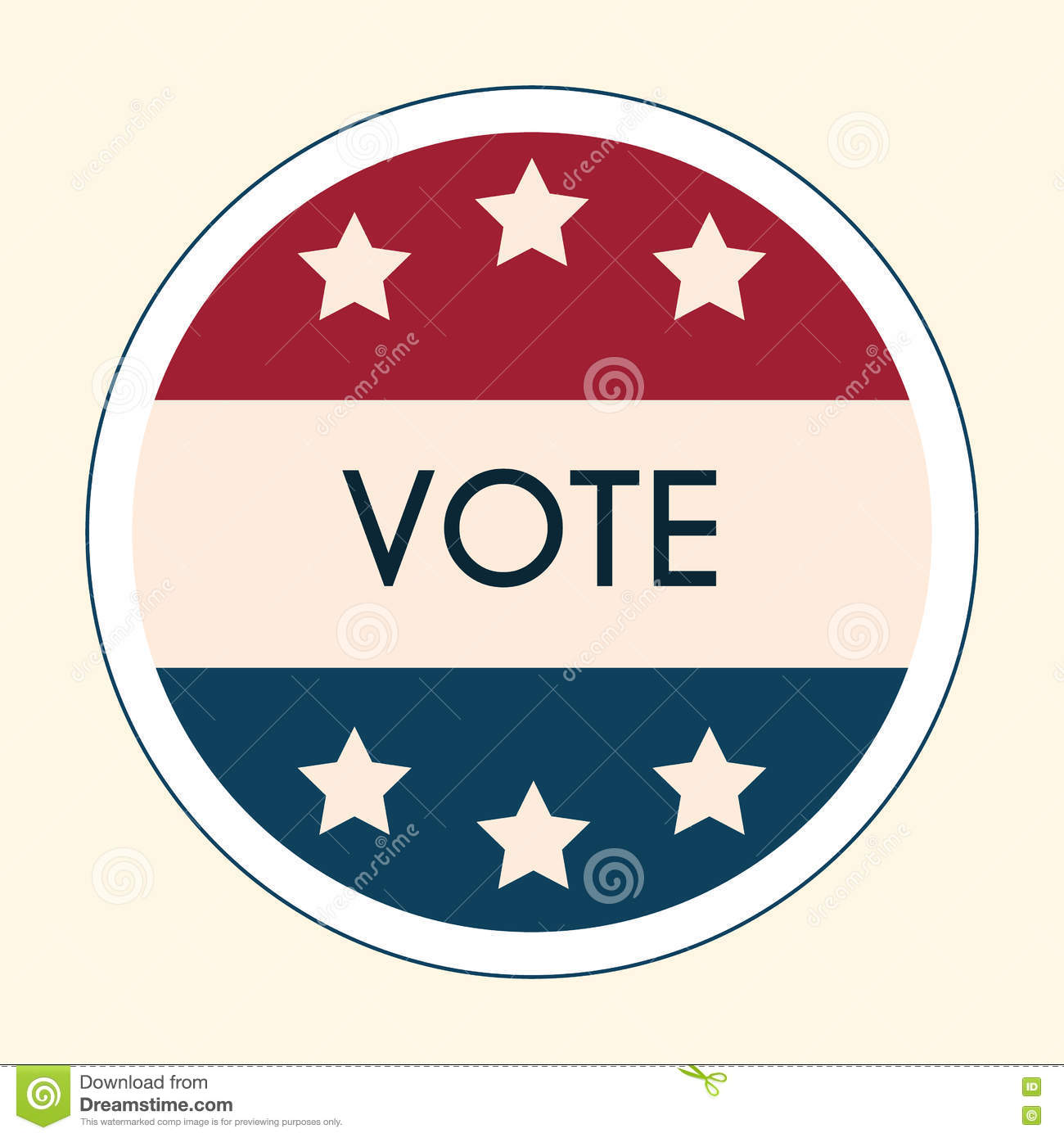 Election voting sticker and badge american flags symbolic elements red stripes and white stars