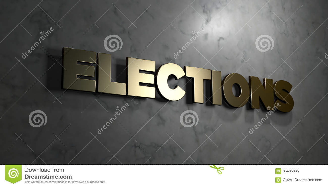 Elections - Gold sign mounted on glossy marble wall - 3D rendered royalty free stock illustration