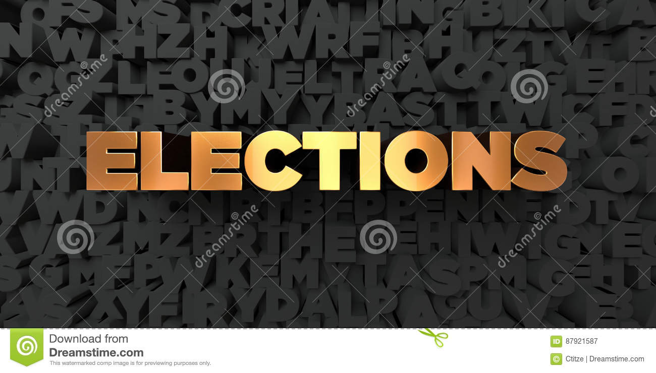Elections - Gold text on black background - 3D rendered royalty free stock picture