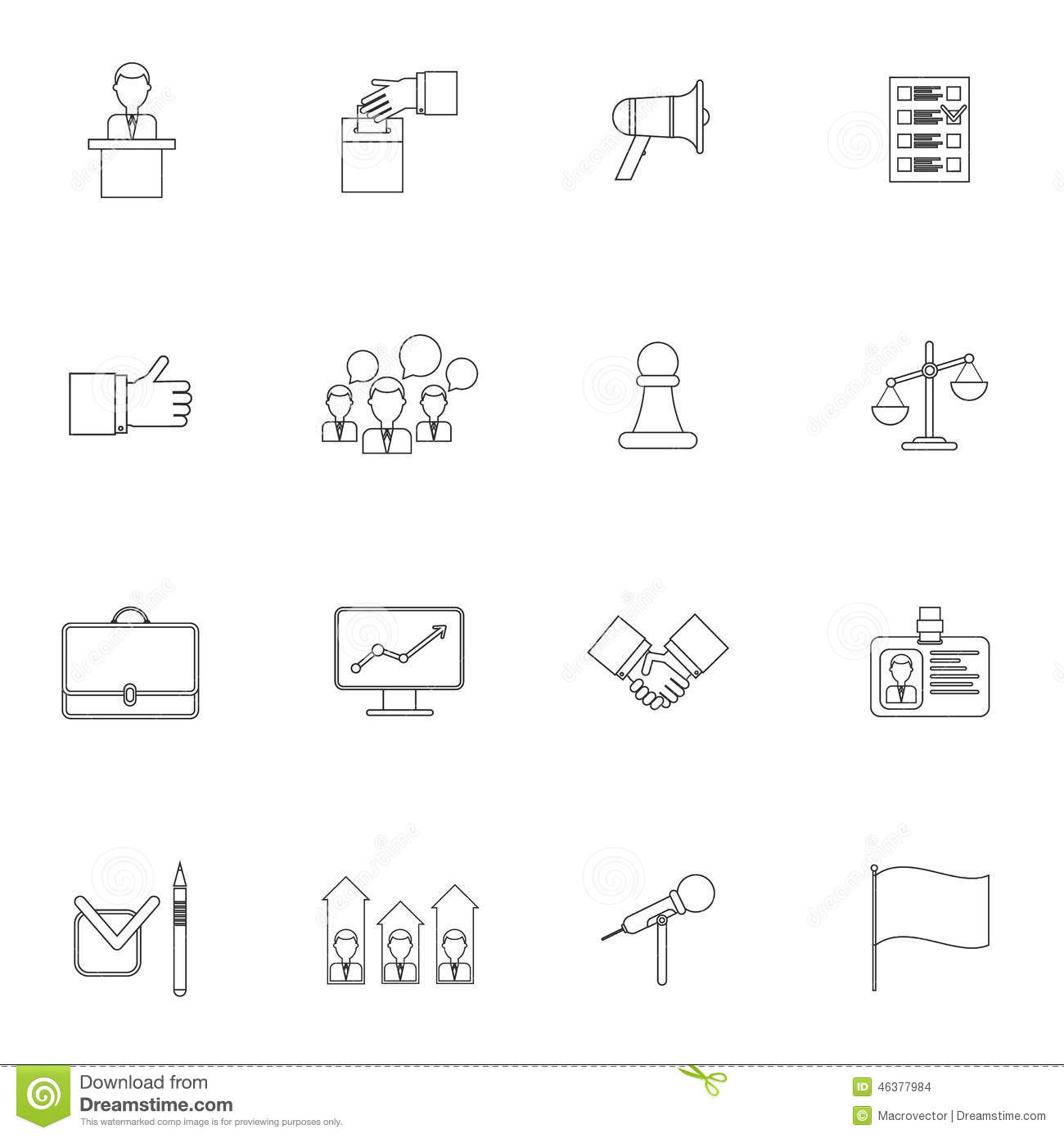Elections icons set outline