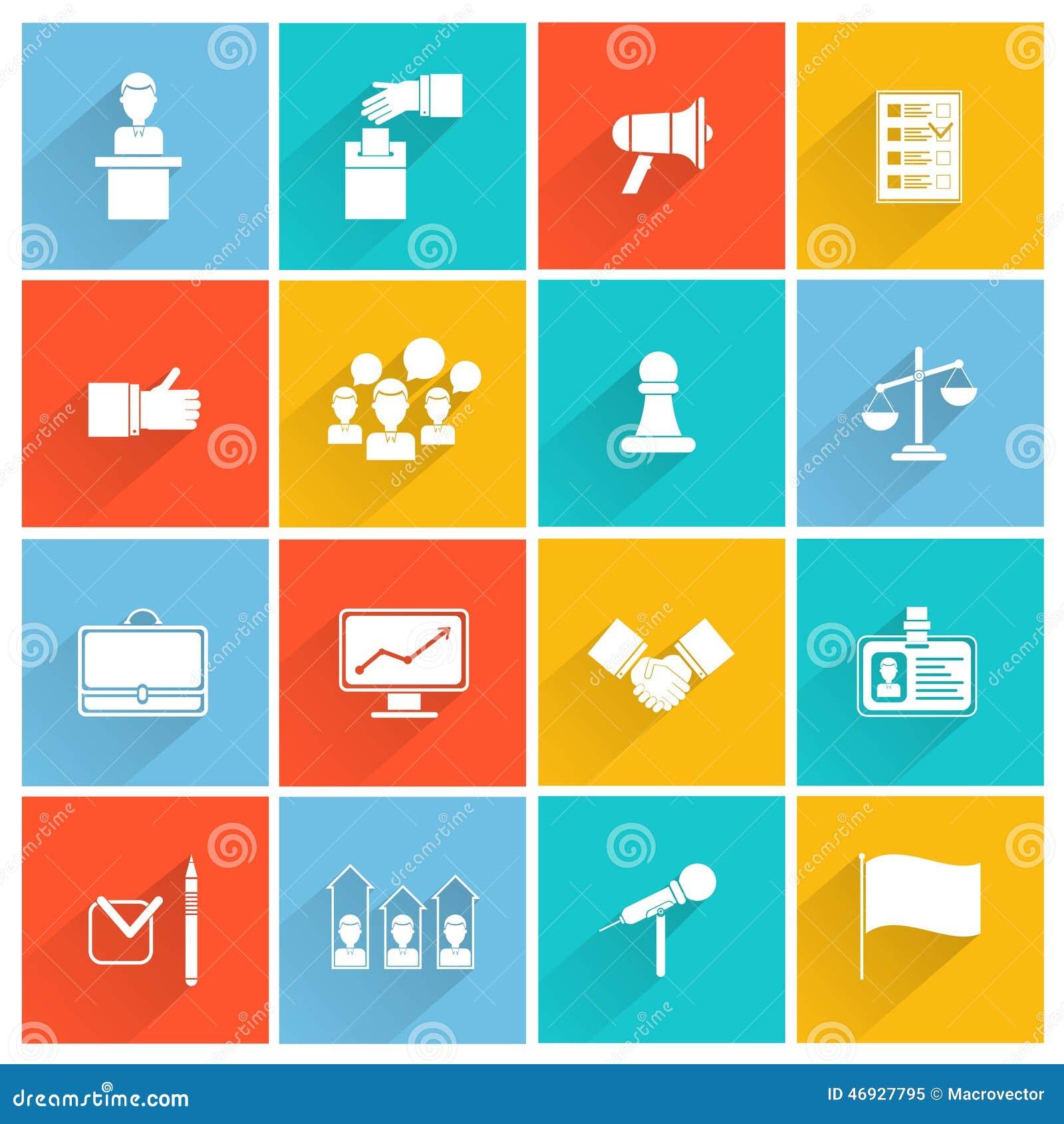 Elections icons white set
