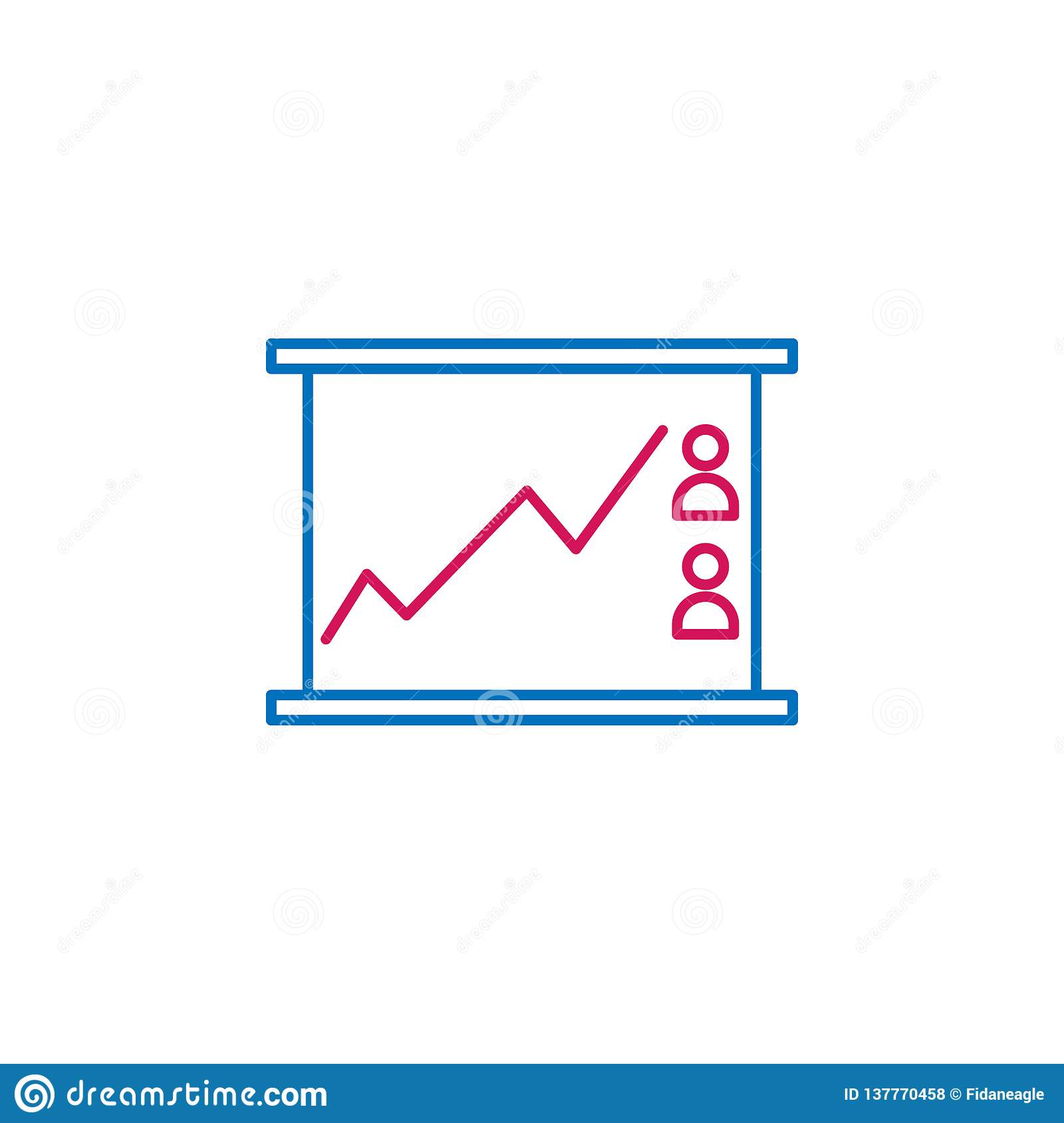Elections, line chart outline colored icon. Can be used for web, logo, mobile app, UI, UX