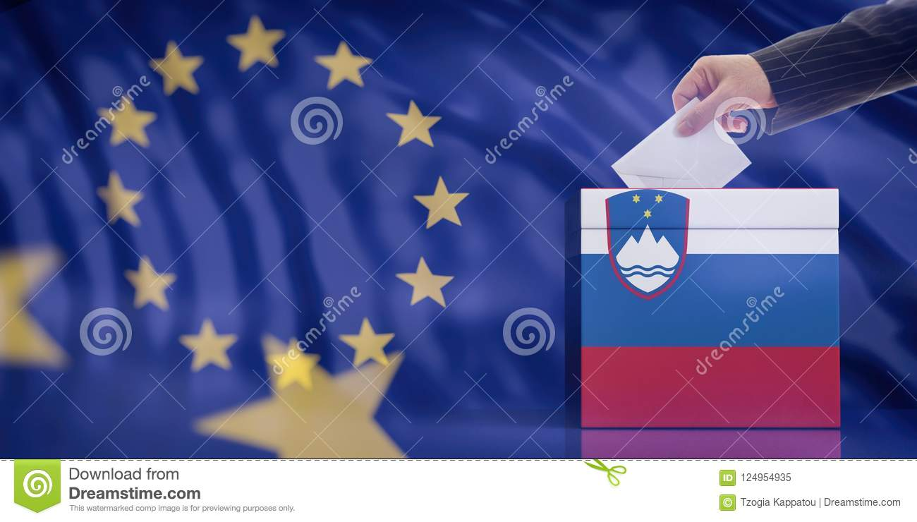 Hand inserting an envelope in a Slovenia flag ballot box on European Union flag background. 3d illustration